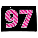 "[ Thumbnail: Fun Pink Striped ""97""; Happy 97th Birthday; Name Gift Bag ]"
