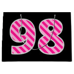 "[ Thumbnail: Fun Pink Striped ""98""; Happy 98th Birthday; Name Gift Bag ]"