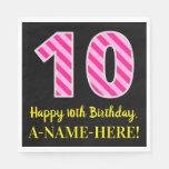 """[ Thumbnail: Fun Pink Stripes """"10""""; Happy 10th Birthday; Name Napkins ]"""
