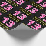 "[ Thumbnail: Fun Pink Stripes ""13""; Happy 13th Birthday; Name Wrapping Paper ]"