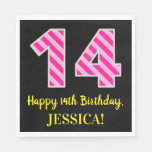 "[ Thumbnail: Fun Pink Stripes ""14""; Happy 14th Birthday; Name Napkins ]"