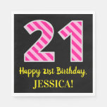 "[ Thumbnail: Fun Pink Stripes ""21""; Happy 21st Birthday; Name Napkins ]"