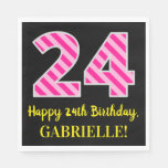 "[ Thumbnail: Fun Pink Stripes ""24""; Happy 24th Birthday; Name Napkins ]"