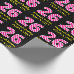 "[ Thumbnail: Fun Pink Stripes ""26""; Happy 26th Birthday; Name Wrapping Paper ]"