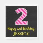 """[ Thumbnail: Fun Pink Stripes """"2""""; Happy 2nd Birthday; Name Napkins ]"""
