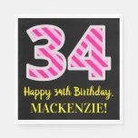 """[ Thumbnail: Fun Pink Stripes """"34""""; Happy 34th Birthday; Name Napkins ]"""