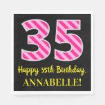 """[ Thumbnail: Fun Pink Stripes """"35""""; Happy 35th Birthday; Name Napkins ]"""