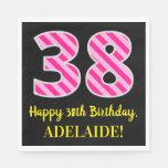 """[ Thumbnail: Fun Pink Stripes """"38""""; Happy 38th Birthday; Name Napkins ]"""