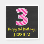 "[ Thumbnail: Fun Pink Stripes ""3""; Happy 3rd Birthday; Name Napkins ]"