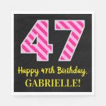 """[ Thumbnail: Fun Pink Stripes """"47""""; Happy 47th Birthday; Name Napkins ]"""