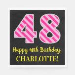 """[ Thumbnail: Fun Pink Stripes """"48""""; Happy 48th Birthday; Name Napkins ]"""