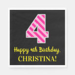 "[ Thumbnail: Fun Pink Stripes ""4""; Happy 4th Birthday; Name Napkins ]"