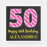 """[ Thumbnail: Fun Pink Stripes """"50""""; Happy 50th Birthday; Name Napkins ]"""