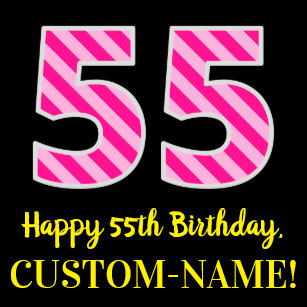 Fun Pink Stripes 55 Happy 55th Birthday Name Wrapping Paper