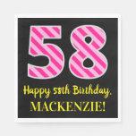 """[ Thumbnail: Fun Pink Stripes """"58""""; Happy 58th Birthday; Name Napkins ]"""