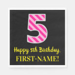 "[ Thumbnail: Fun Pink Stripes ""5""; Happy 5th Birthday; Name Napkins ]"