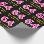 "[ Thumbnail: Fun Pink Stripes ""64""; Happy 64th Birthday; Name Wrapping Paper ]"