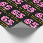 "[ Thumbnail: Fun Pink Stripes ""65""; Happy 65th Birthday; Name Wrapping Paper ]"