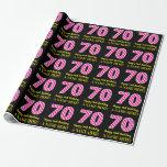"[ Thumbnail: Fun Pink Stripes ""70""; Happy 70th Birthday; Name Wrapping Paper ]"