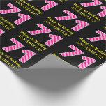 "[ Thumbnail: Fun Pink Stripes ""71""; Happy 71st Birthday; Name Wrapping Paper ]"