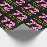 """[ Thumbnail: Fun Pink Stripes """"72""""; Happy 72nd Birthday; Name Wrapping Paper ]"""