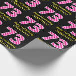 """[ Thumbnail: Fun Pink Stripes """"73""""; Happy 73rd Birthday; Name Wrapping Paper ]"""