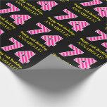"[ Thumbnail: Fun Pink Stripes ""74""; Happy 74th Birthday; Name Wrapping Paper ]"