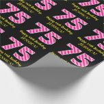 "[ Thumbnail: Fun Pink Stripes ""75""; Happy 75th Birthday; Name Wrapping Paper ]"