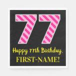 """[ Thumbnail: Fun Pink Stripes """"77""""; Happy 77th Birthday; Name Napkins ]"""