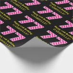 "[ Thumbnail: Fun Pink Stripes ""77""; Happy 77th Birthday; Name Wrapping Paper ]"