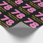 "[ Thumbnail: Fun Pink Stripes ""78""; Happy 78th Birthday; Name Wrapping Paper ]"