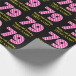 "[ Thumbnail: Fun Pink Stripes ""79""; Happy 79th Birthday; Name Wrapping Paper ]"
