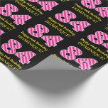 "[ Thumbnail: Fun Pink Stripes ""84""; Happy 84th Birthday; Name Wrapping Paper ]"