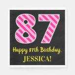 """[ Thumbnail: Fun Pink Stripes """"87""""; Happy 87th Birthday; Name Napkins ]"""
