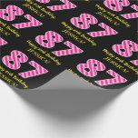 "[ Thumbnail: Fun Pink Stripes ""87""; Happy 87th Birthday; Name Wrapping Paper ]"