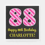 """[ Thumbnail: Fun Pink Stripes """"88""""; Happy 88th Birthday; Name Napkins ]"""