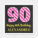 """[ Thumbnail: Fun Pink Stripes """"90""""; Happy 90th Birthday; Name Napkins ]"""