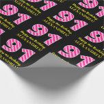 "[ Thumbnail: Fun Pink Stripes ""91""; Happy 91st Birthday; Name Wrapping Paper ]"