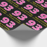 """[ Thumbnail: Fun Pink Stripes """"93""""; Happy 93rd Birthday; Name Wrapping Paper ]"""