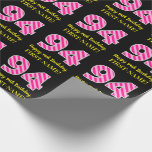 "[ Thumbnail: Fun Pink Stripes ""94""; Happy 94th Birthday; Name Wrapping Paper ]"