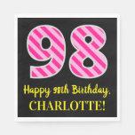 """[ Thumbnail: Fun Pink Stripes """"98""""; Happy 98th Birthday; Name Napkins ]"""