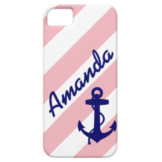 FUN PINK STRIPES BLUE ANCHOR YOUR NAME iPhone 5 CASE