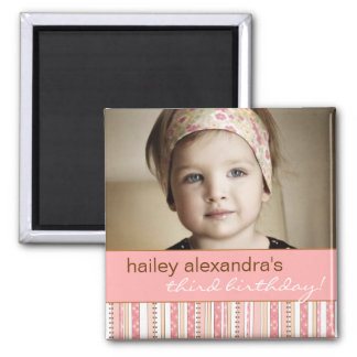 Fun Pink Stripes & Dots Birthday Photo Magnet