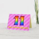 [ Thumbnail: Fun Pink Stripes, Hearts, Rainbow # 11th Birthday Card ]