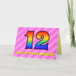 [ Thumbnail: Fun Pink Stripes, Hearts, Rainbow # 12th Birthday Card ]