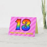 [ Thumbnail: Fun Pink Stripes, Hearts, Rainbow # 13th Birthday Card ]