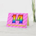 [ Thumbnail: Fun Pink Stripes, Hearts, Rainbow # 14th Birthday Card ]