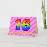 [ Thumbnail: Fun Pink Stripes, Hearts, Rainbow # 16th Birthday Card ]