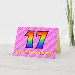 [ Thumbnail: Fun Pink Stripes, Hearts, Rainbow # 17th Birthday Card ]