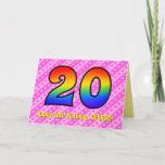 [ Thumbnail: Fun Pink Stripes, Hearts, Rainbow # 20th Birthday Card ]